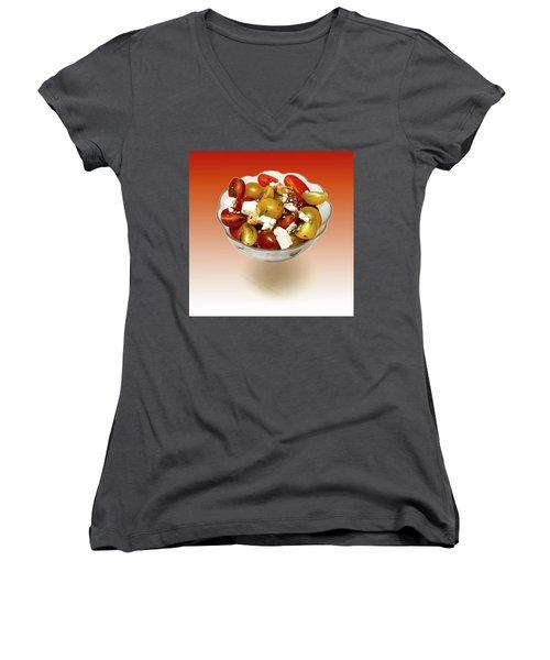 Plum Cherry Tomatoes Women's V-Neck T-Shirt (Junior Cut) by David French