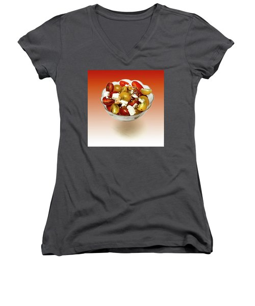 Plum Cherry Tomatoes Women's V-Neck (Athletic Fit)