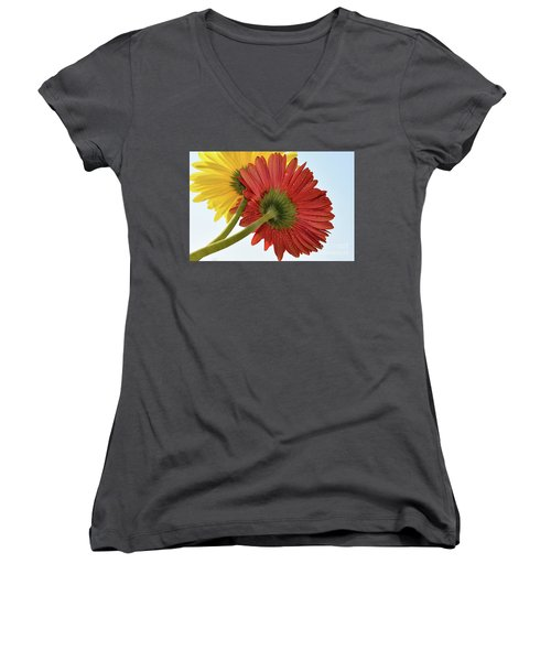 Red And Yellow Women's V-Neck T-Shirt (Junior Cut) by Elvira Ladocki