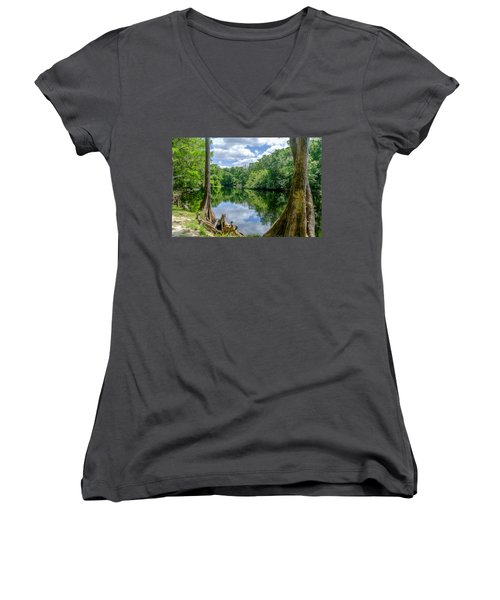 Women's V-Neck T-Shirt (Junior Cut) featuring the photograph Reflections by Louis Ferreira