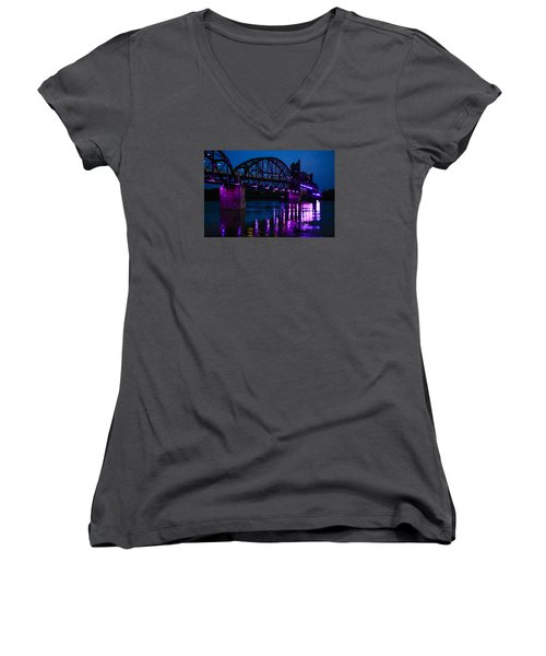 Rock Island Bridge Arkinsas Women's V-Neck T-Shirt (Junior Cut) by Chris Smith