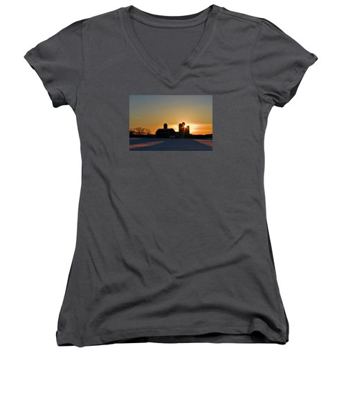 Women's V-Neck T-Shirt (Junior Cut) featuring the photograph 4 Silos by Judy  Johnson