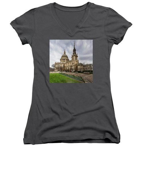 St Pauls Cathedral Women's V-Neck T-Shirt (Junior Cut) by Shirley Mitchell