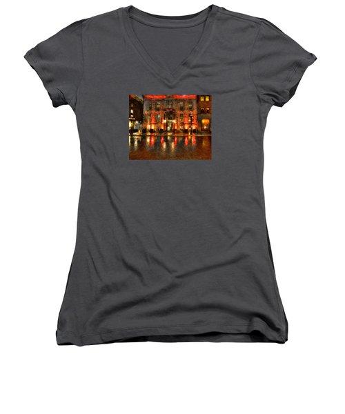 Street Reflections Women's V-Neck T-Shirt (Junior Cut) by Andre Faubert