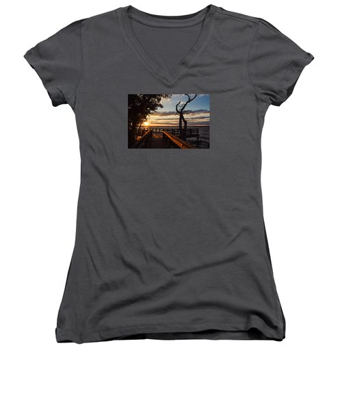 Sunset On The Cape Fear River Women's V-Neck (Athletic Fit)