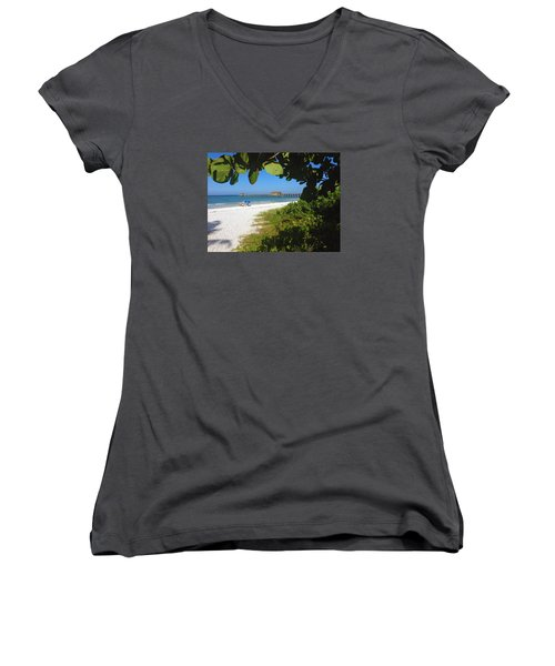 Women's V-Neck T-Shirt (Junior Cut) featuring the photograph The Historic Naples Pier by Robb Stan