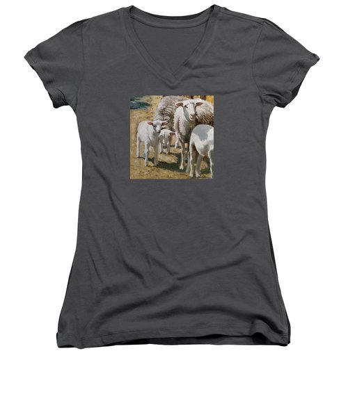 Women's V-Neck T-Shirt (Junior Cut) featuring the painting The Whole Family Is Here by John Reynolds