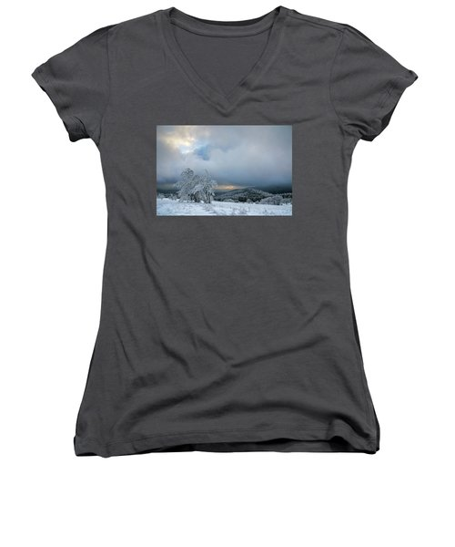 Typical Snowy Landscape In Ore Mountains, Czech Republic. Women's V-Neck (Athletic Fit)
