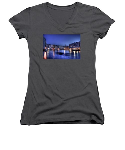 Women's V-Neck T-Shirt (Junior Cut) featuring the photograph Venice By Night by Andrea Barbieri