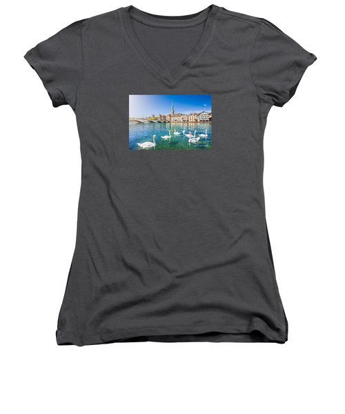 Zurich Women's V-Neck T-Shirt (Junior Cut) by JR Photography