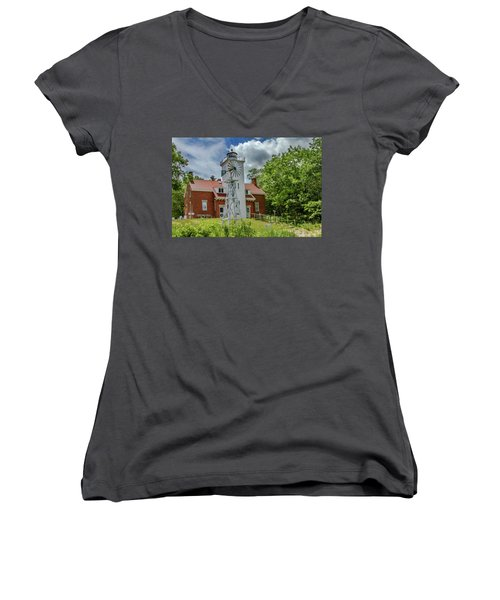 Women's V-Neck T-Shirt (Junior Cut) featuring the photograph 40 Mile Point Lighthouse by Bill Gallagher
