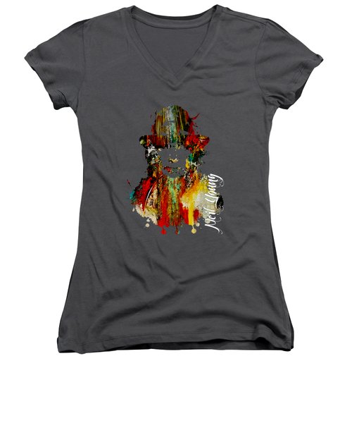 Neil Young Collection Women's V-Neck T-Shirt (Junior Cut) by Marvin Blaine