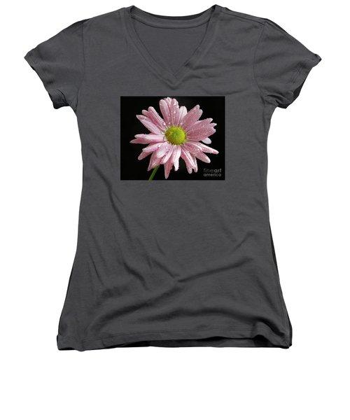 Pink Flower Women's V-Neck T-Shirt (Junior Cut) by Elvira Ladocki