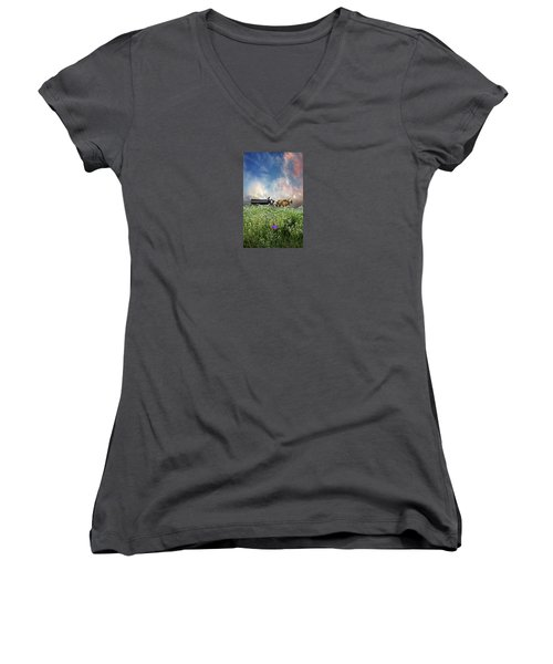 Women's V-Neck T-Shirt (Junior Cut) featuring the photograph 4376 by Peter Holme III
