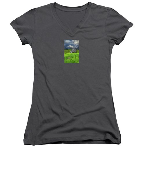 Women's V-Neck T-Shirt (Junior Cut) featuring the photograph 4379 by Peter Holme III