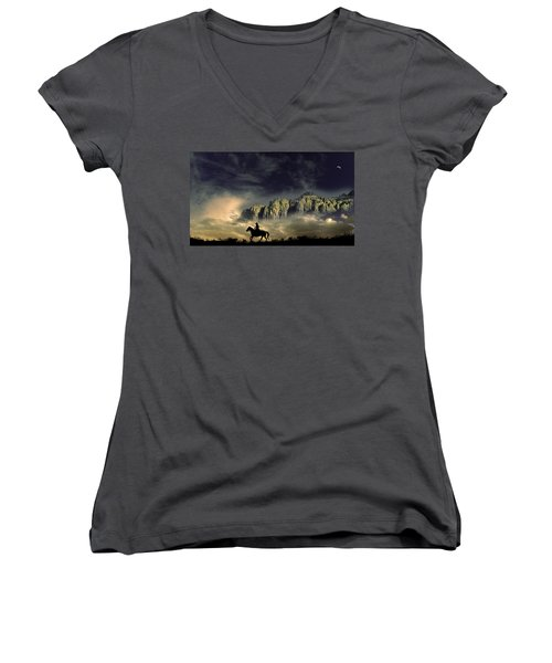 Women's V-Neck T-Shirt (Junior Cut) featuring the photograph 4403 by Peter Holme III