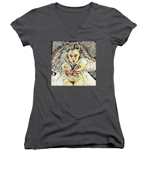4448s-ab The Succubus Comes For You Erotica In The Style Of Kandinsky Women's V-Neck