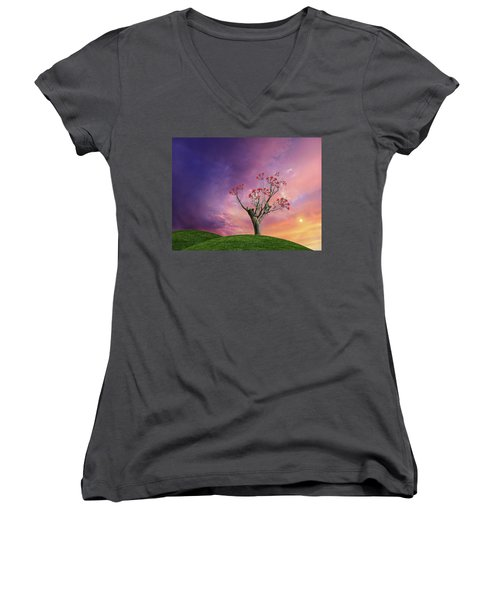 Women's V-Neck T-Shirt featuring the photograph 4451 by Peter Holme III