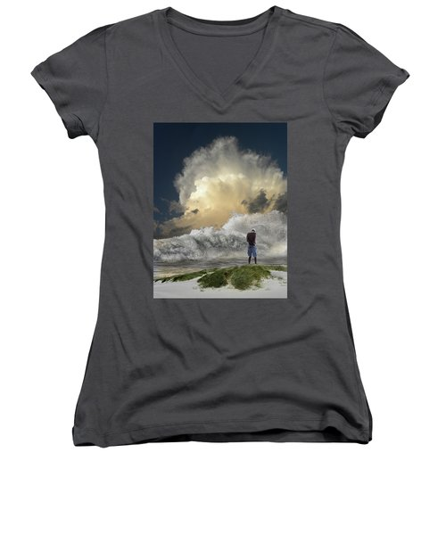Women's V-Neck T-Shirt featuring the photograph 4457 by Peter Holme III