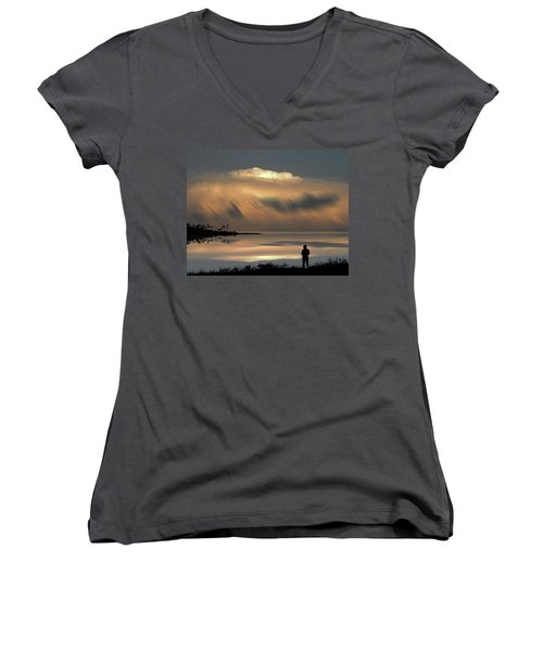 Women's V-Neck T-Shirt featuring the photograph 4459 by Peter Holme III