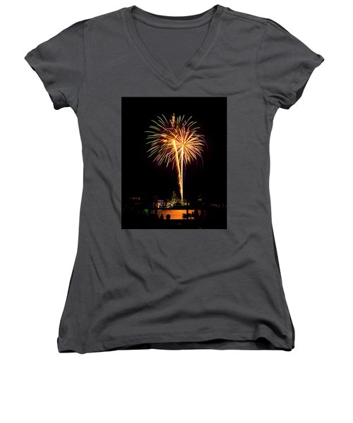 Women's V-Neck T-Shirt (Junior Cut) featuring the photograph 4th Of July Fireworks by Bill Barber