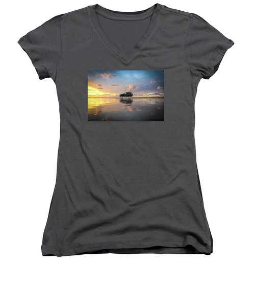 4wd Vehicle And Stunning Sunset Reflections On Beach Women's V-Neck