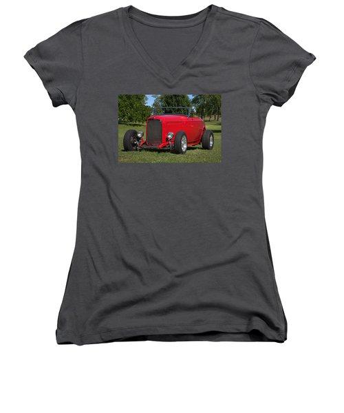 1932 Ford Roadster Hot Rod Women's V-Neck