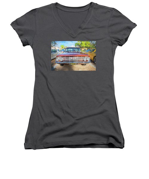 Women's V-Neck T-Shirt (Junior Cut) featuring the photograph 1961 Chevrolet Impala Ss  by Rich Franco