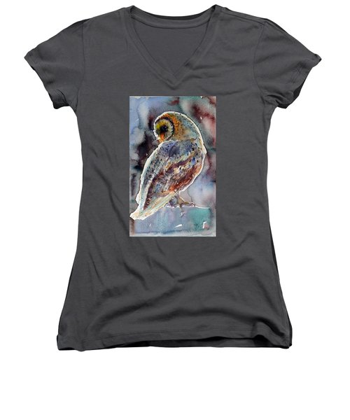 Barn Owl Women's V-Neck T-Shirt (Junior Cut)