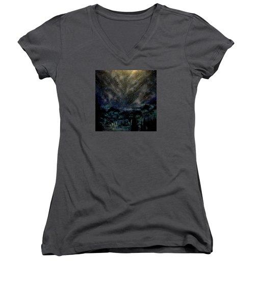 Cosmic Light Series Women's V-Neck T-Shirt (Junior Cut) by Len Sodenkamp