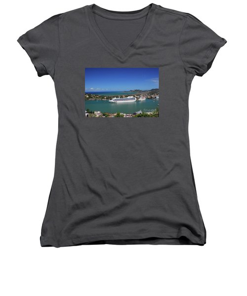 Women's V-Neck T-Shirt featuring the photograph Cruise Ship In Port by Gary Wonning