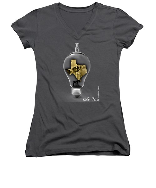 Dallas Texas Map Collection Women's V-Neck T-Shirt (Junior Cut) by Marvin Blaine