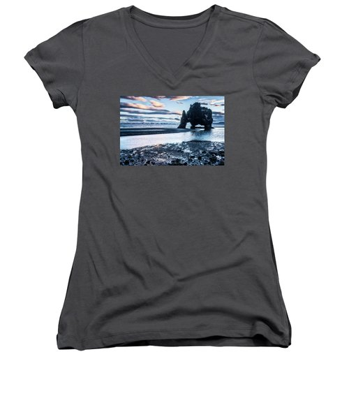 Dinosaur Rock Beach In Iceland Women's V-Neck T-Shirt (Junior Cut) by Joe Belanger