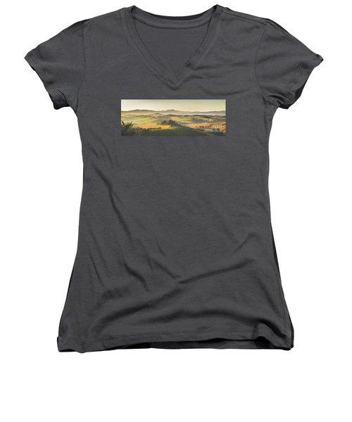 Golden Tuscany Women's V-Neck T-Shirt (Junior Cut) by JR Photography