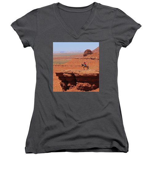 Grand Canyon Women's V-Neck T-Shirt (Junior Cut) by Ronald Olivier