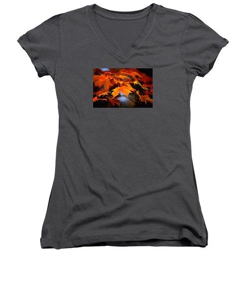 Maple Leaves Women's V-Neck T-Shirt (Junior Cut) by Andre Faubert