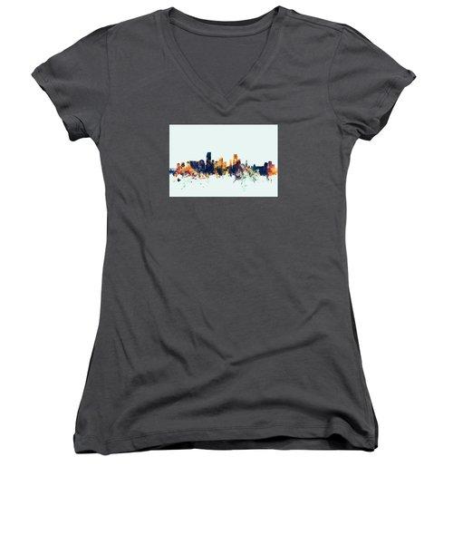 Miami Florida Skyline Women's V-Neck T-Shirt