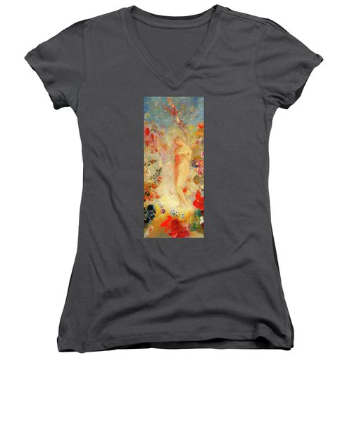 Women's V-Neck T-Shirt (Junior Cut) featuring the painting Pandora by Odilon Redon