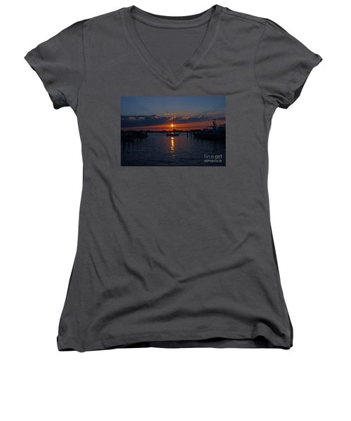 Women's V-Neck T-Shirt (Junior Cut) featuring the photograph 5- Sailfish Marina Sunset In Paradise by Joseph Keane