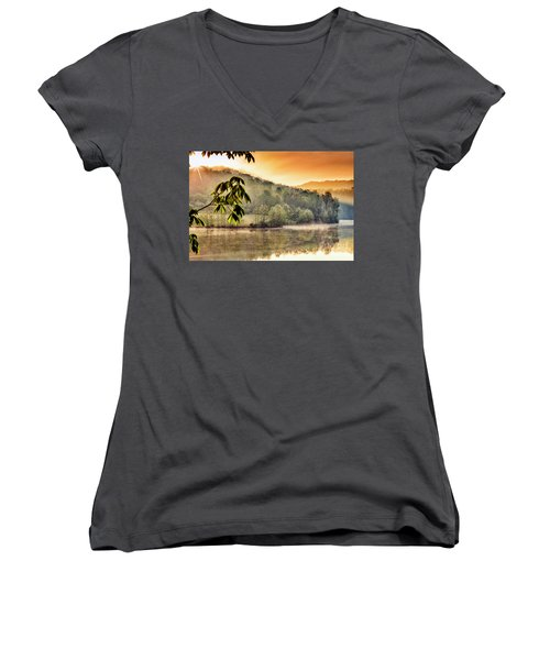 Stonewall Resort Sunrise Women's V-Neck T-Shirt (Junior Cut) by Thomas R Fletcher