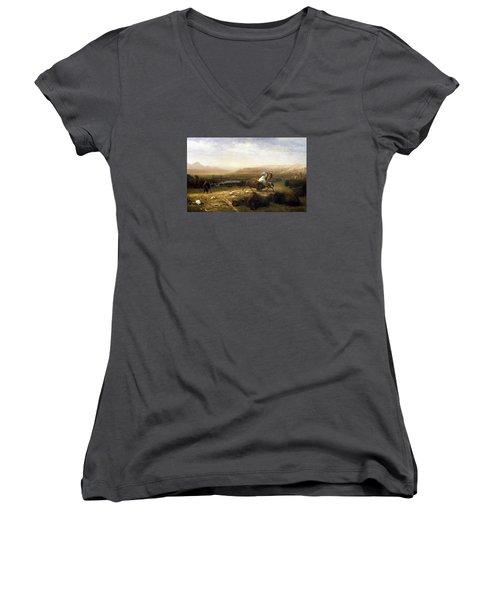 The Last Of The Buffalo  Women's V-Neck T-Shirt (Junior Cut)