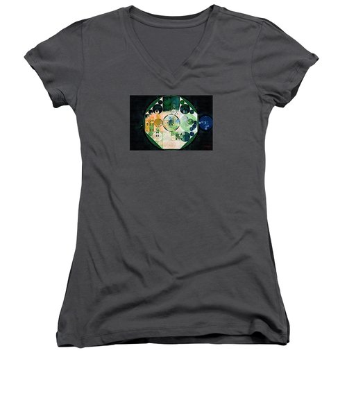 Women's V-Neck T-Shirt (Junior Cut) featuring the digital art Abstract Painting - Onyx by Vitaliy Gladkiy
