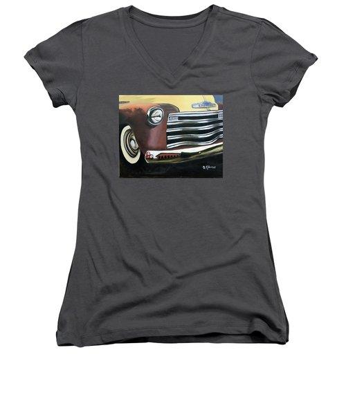 53 Chevy Truck Women's V-Neck T-Shirt