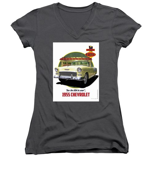 Women's V-Neck T-Shirt (Junior Cut) featuring the drawing 55 Chevy by Kenneth De Tore