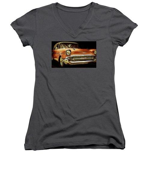 55 Chevy Women's V-Neck T-Shirt