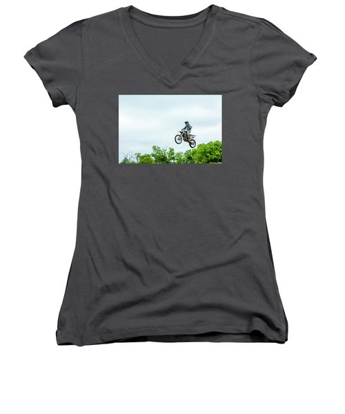 Women's V-Neck T-Shirt (Junior Cut) featuring the photograph 573 Flying High At White Knuckle Ranch by David Morefield