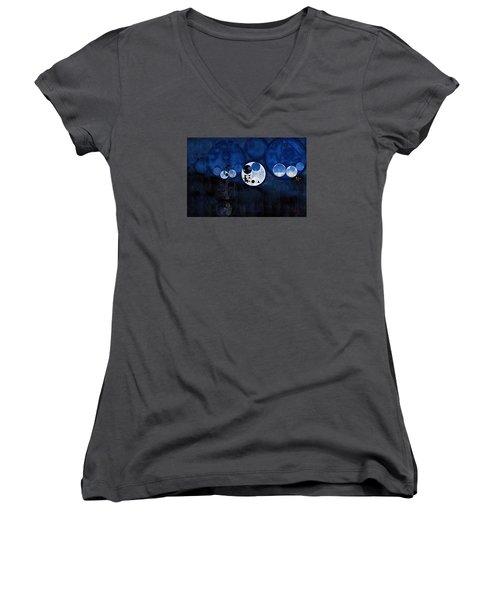 Abstract Painting - Onyx Women's V-Neck T-Shirt (Junior Cut) by Vitaliy Gladkiy