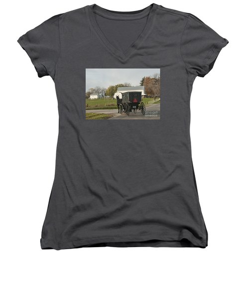 Amish Buggy Women's V-Neck (Athletic Fit)