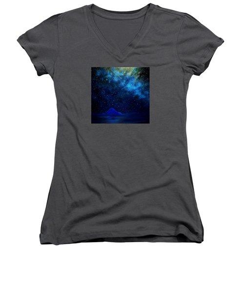 Women's V-Neck T-Shirt (Junior Cut) featuring the painting Cosmic Light Series by Len Sodenkamp