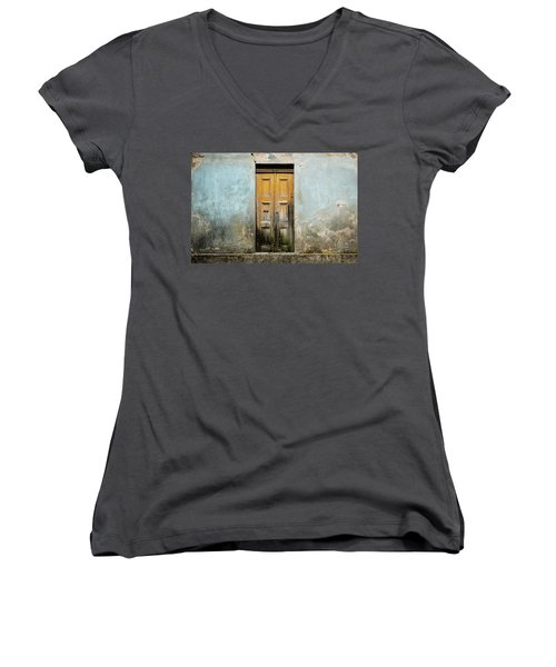 Women's V-Neck T-Shirt (Junior Cut) featuring the photograph Door With No Number by Marco Oliveira